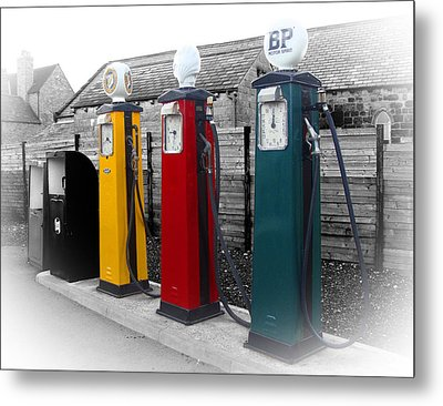 Petrol Station Metal Print by Roberto Alamino