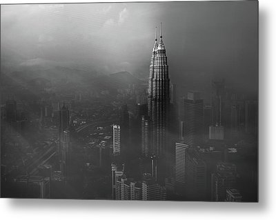 Petronas Towers In A Foggy Afternoon Metal Print