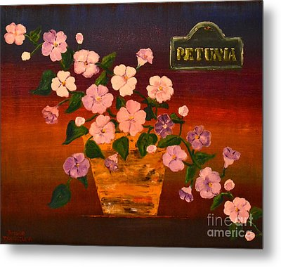 Metal Print featuring the painting Petunia by Denise Tomasura