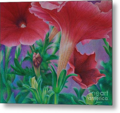 Metal Print featuring the painting Petunia Skies by Pamela Clements