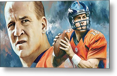 Peyton Manning Artwork Metal Print by Sheraz A