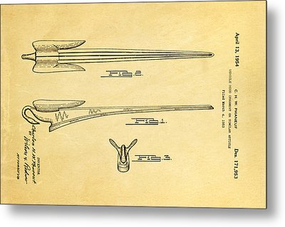 Phaneuf Hood Ornament Patent Art 1954 Metal Print by Ian Monk