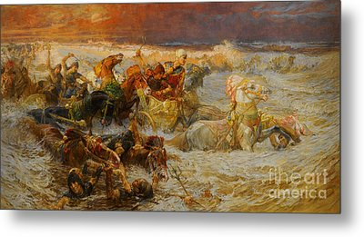 Pharaoh And His Army Engulfed By The Red Sea Metal Print by Celestial Images