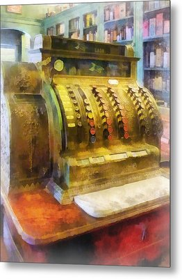 Pharmacist - Cash Register In Pharmacy Metal Print by Susan Savad