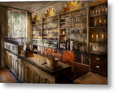 Pharmacist - The Dispensatory Metal Print by Mike Savad