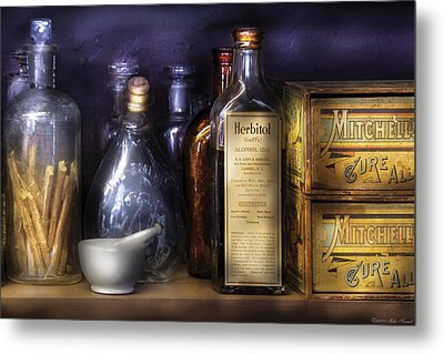 Pharmacy - Constipated  Metal Print by Mike Savad