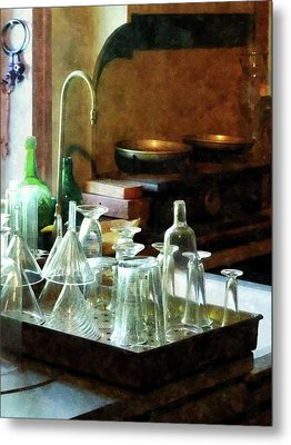 Pharmacy - Glass Funnels And Bottles Metal Print by Susan Savad