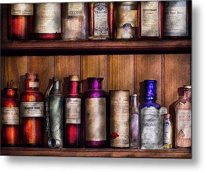 Pharmacy - Ingredients Of Medicine  Metal Print by Mike Savad