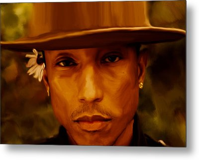 Pharrell Williams Happy Metal Print by Brian Reaves