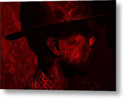 Pharrell Williams Red Metal Print by Brian Reaves