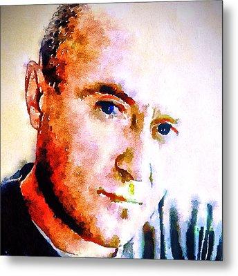 Phil Collins Digital Watercolor Portrait 2 Metal Print