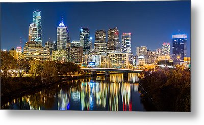 Philadelphia Cityscape Panorama By Night Metal Print by Mihai Andritoiu