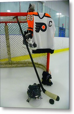 Philadelphia Flyers Eric Lindros Away Hockey Jersey Metal Print by Lisa Wooten
