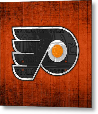 Philadelphia Flyers Hockey Team Retro Logo Vintage Recycled Pennsylvania License Plate Art Metal Print by Design Turnpike