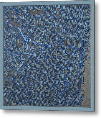 Philadelphia Map Antique 3 Metal Print by Bekim Art