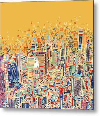 Philadelphia Panorama Pop Art Metal Print by Bekim Art