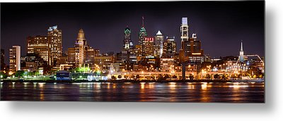 Philadelphia Philly Skyline At Night From East Color Metal Print
