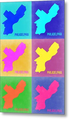 Philadelphia Pop Art Map 3 Metal Print by Naxart Studio