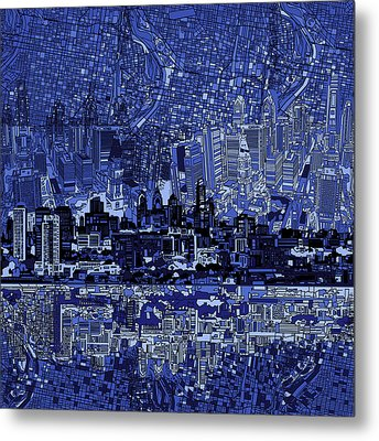 Philadelphia Skyline Abstract 2 Metal Print by Bekim Art