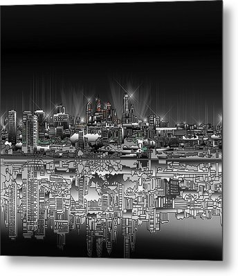 Philadelphia Skyline  Gradient Metal Print by Bekim Art