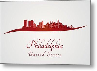 Philadelphia Skyline In Red Metal Print