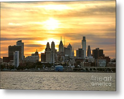 Philadelphia Sunset Metal Print by Olivier Le Queinec