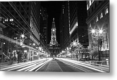 Philadephia City Hall -- Black And White Metal Print by Stephen Stookey