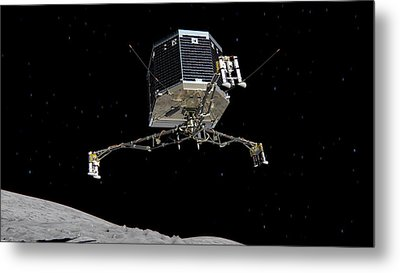 Metal Print featuring the photograph Philae Lander Descending To Comet 67pc-g by Science Source