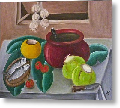 Philippine Still Life With Fish And Coconuts 2 Metal Print by Victoria Lakes