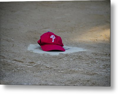 Phillies Hat On Home Plate Metal Print by Bill Cannon