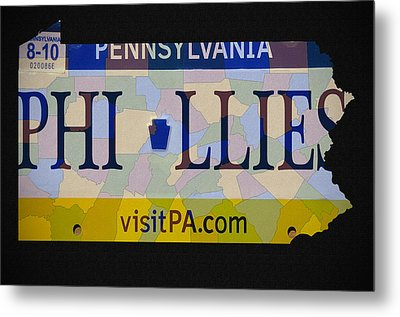 Phillies License Plate Map Metal Print by Bill Cannon