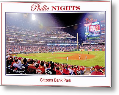 Phillies Night Baseball Poster Image Metal Print by A Gurmankin