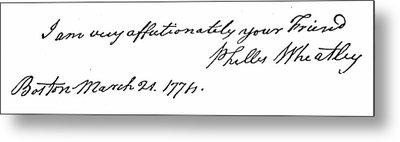 Phillis Wheatley (1753?-1784) Metal Print