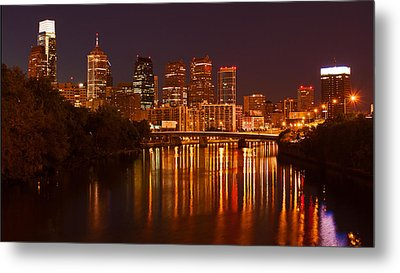 Philly Lights Reflected Metal Print