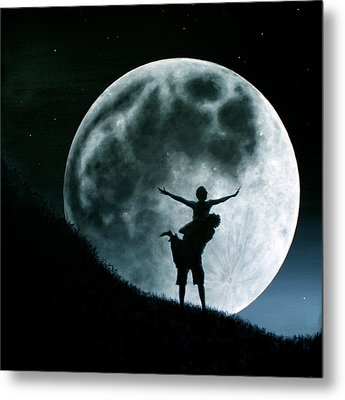 Metal Print featuring the painting Philos Under A Full Moon Rising by Ric Nagualero