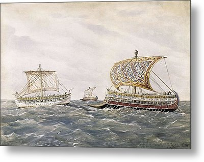 Phoenician And Assyrian Battle Ships Metal Print by Everett