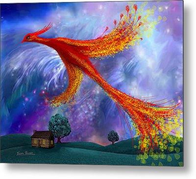 Phoenix Flying At Night Metal Print