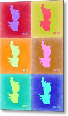 Phoenix Pop Art Map 3 Metal Print by Naxart Studio
