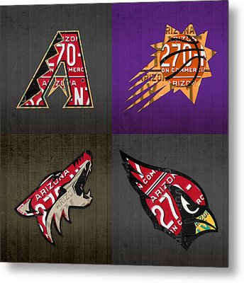 Phoenix Sports Fan Recycled Vintage Arizona License Plate Art Diamondbacks Suns Coyotes Cardinals Metal Print by Design Turnpike
