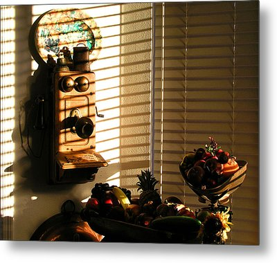 Metal Print featuring the photograph Phone And Fruit by Craig T Burgwardt