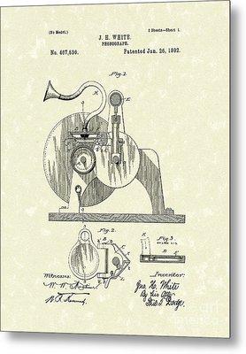 Phonograph 1892 Patent Art Metal Print by Prior Art Design