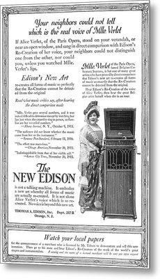 Phonograph, 1916 Metal Print