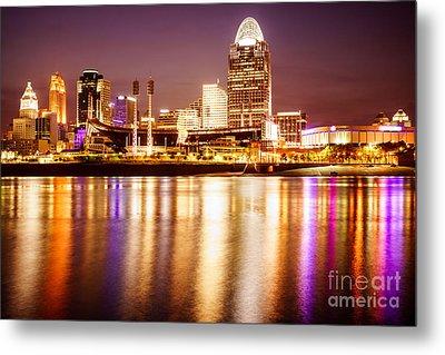 Photo Of Cincinnati Skyline At Night Metal Print