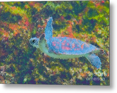 Photo Painting Of Sea Turtle Metal Print by Dan Friend