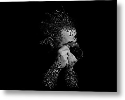Photographer Camera Abstract Explosion Black And White Dripping Paint Splatter Metal Print by Andy Gimino
