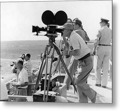 Photographers Filming An Event Metal Print by Underwood Archives