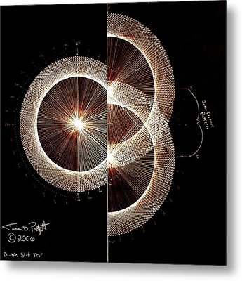 Photon Double Slit Test Hand Drawn Metal Print by Jason Padgett