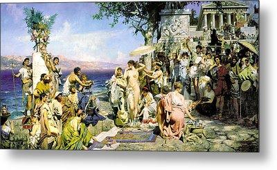 Phryne At The Festival Of Poseidon In Eleusin Metal Print by Henryk Siemiradzki