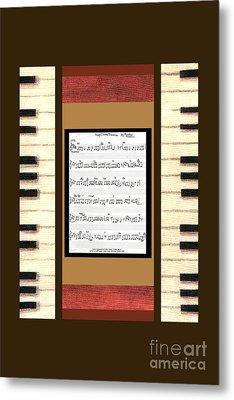 piano keys sheet music to Keep Of The Promise by Kristie Hubler Metal Print by Kristie Hubler