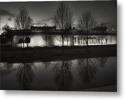 Piano Pavilion Bw Reflections Metal Print by Joan Carroll